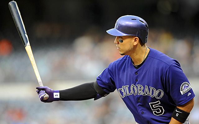 Carlos Gonzalez is back with the Rockies, though his finger is still giving him some trouble.
