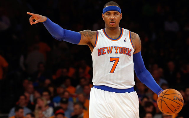 Carmelo Anthony knows the door out of New York is that way.   (USATSI)