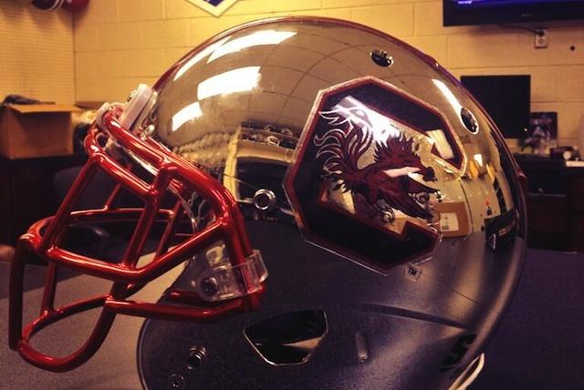 South Carolina's equipment team shared a photo of a chrome helmet. (Twitter.com)