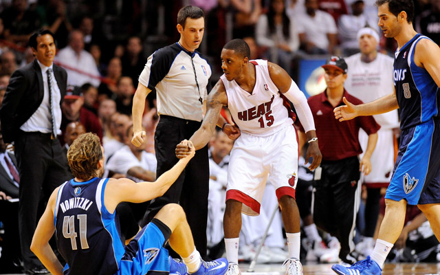 Chalmers was ejected Friday night for hitting Nowitzki.  (USATSI)