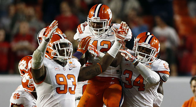 Stephone Anthony (42) celebrates with his teammates after intercepting Braxton Miller. (USATSI)