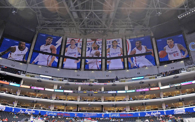 The Clipper covered up the Lakers' banners with posters of their own.   (USATSI)