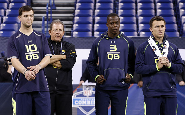 AJ McCarron, Teddy Bridgewater and Johnny Manziel all performed at the NFL Combine. (USATSI)