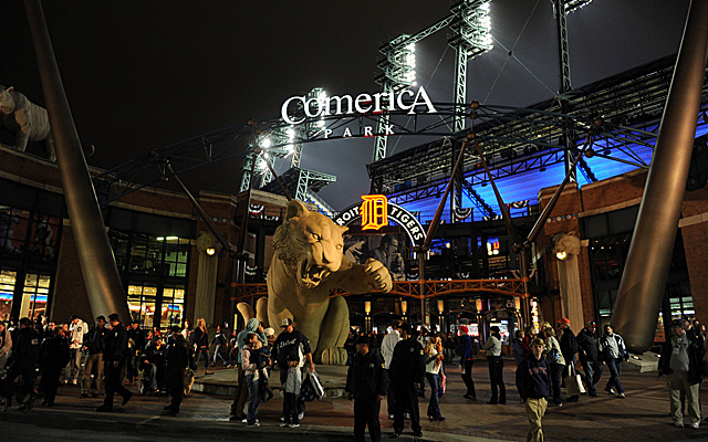 Detroit's Comerica Park, lit up for night action.