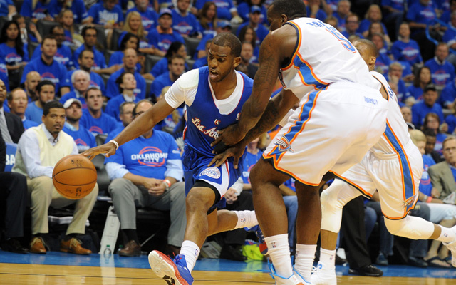Chris Paul is battling pick and roll coverage vs. the Thunder. (USATSI)
