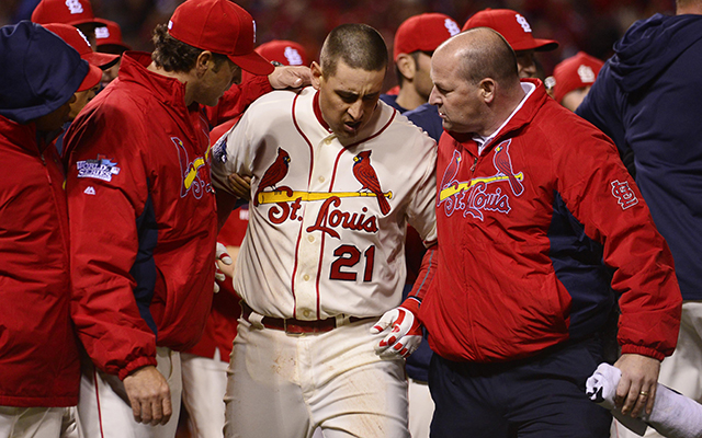 Allen Craig hurt his right foot again in the final play of Game 3.