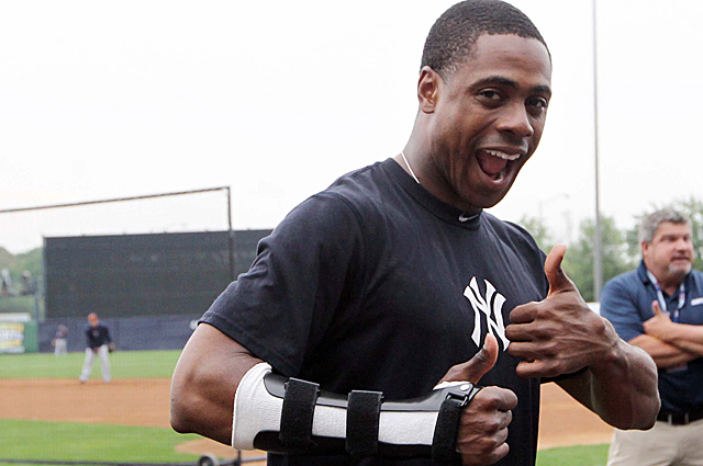 Granderson showing off his cast back in late March.