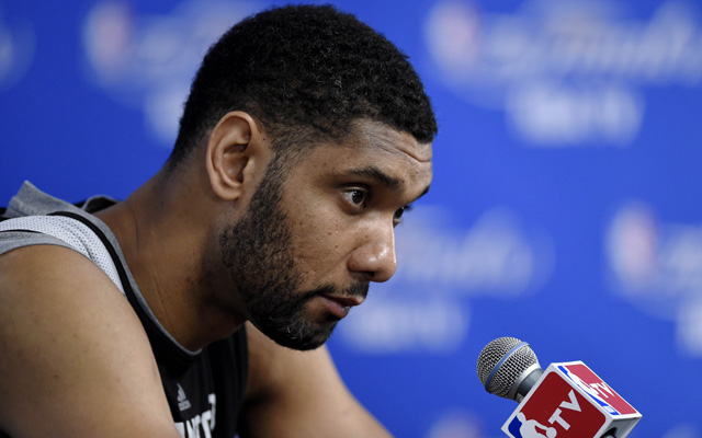 Tim Duncan's not mad about losing $25 million. I mean, not that much.   (USATSI)