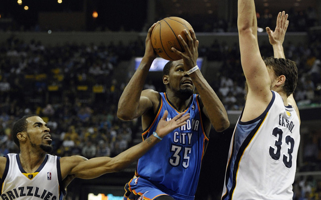 Kevin Durant struggled against Memphis in Game 3. (USATSI)