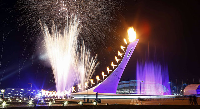 The Olympic Cauldron is lit during the opening ceremony. (Reuters)