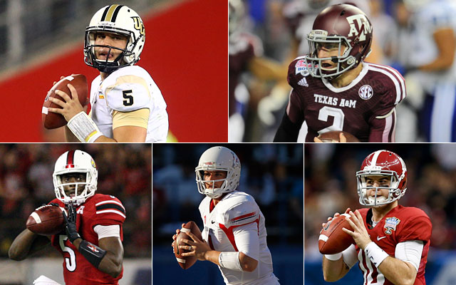 Blake Bortles, Johnny Manziel, Teddy Bridgewater, Derek Carr and AJ McCarron. (USATSI)