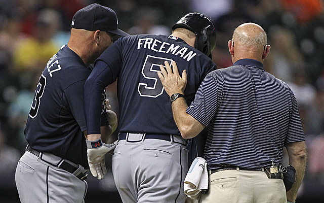 Freddie Freeman exited Wednesday night's victory after being hit with a pitch.