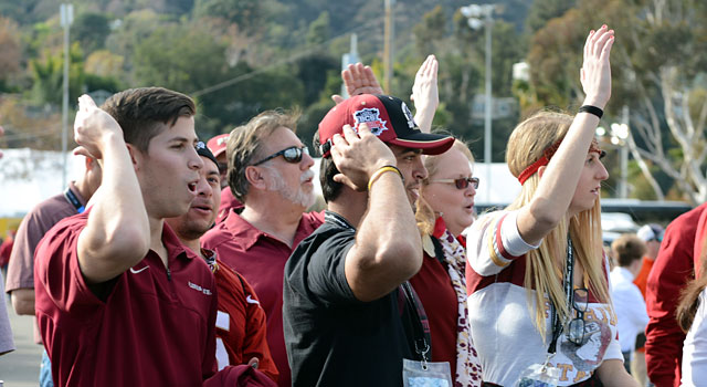Florida State fans cheering outside the stadium before tonight's title game. (USATSI)