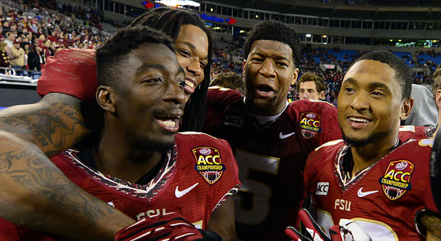 Florida State players celebrate after winning the ACC over Duke. (USATSI)