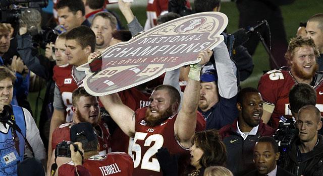 Florida State celebrates an undefeated season and the national championship. (USATSI)
