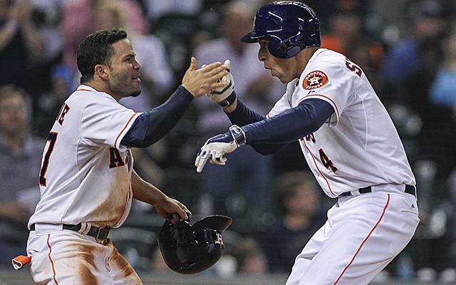 George Springer (right) is leading the Astros on a six-game winning streak.