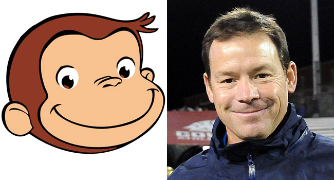 Curious George and Jim Mora Jr. have the same smile. (USATSI)
