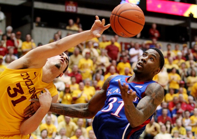 Iowa State let a marquee win slip away in the final minute to Kansas -- again. (AP)
