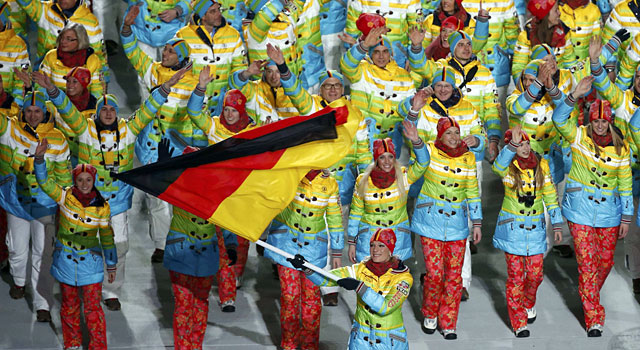 Germany's uniforms are very colorful. (Reuters)