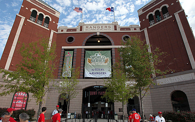 The aesthetically pleasing entrance to Globe Life Park, back when it was Rangers Ballpark in Arlington.