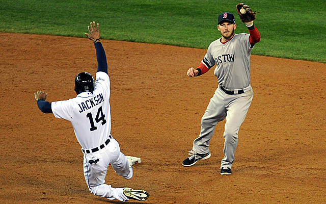 Austin Jackson was called out on this play Wednesday night. Would instant replay have overturned it?