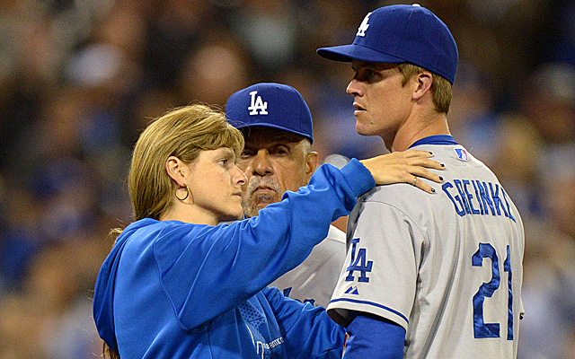 The last time we saw Greinke on the hill, he broke his collarbone in a brawl.