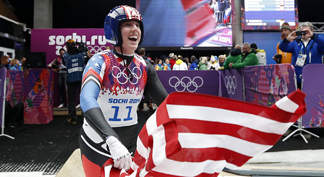 Erin Hamlin celebrates after earning the bronze in the women's luge. (Reuters)