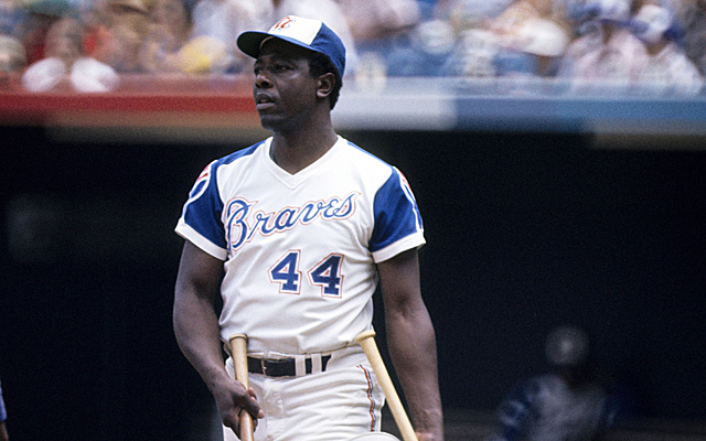 Hammerin' Hank Aaron, back in his playing days for the Braves.