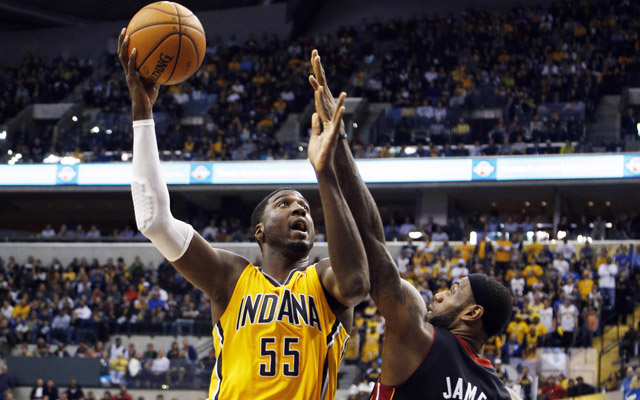 Roy Hibbert rose above LeBron James and the Heat Tuesday.  (USATSI)