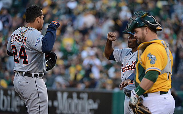 Miguel Cabrera's homer had a hand in the A's demise in last year's ALDS.