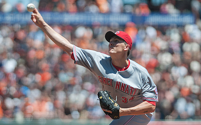 Homer Bailey eyes his third career no-hitter.