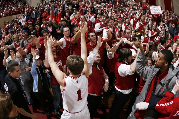 Jordan Hulls celebrates upset of Minnesota with IU fans