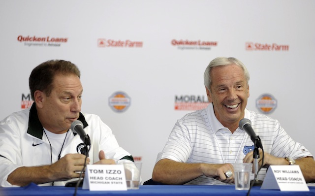 Roy Williams and Tom Izzo will go head-to-head in the Big Ten/ACC Challenge. (USATSI)