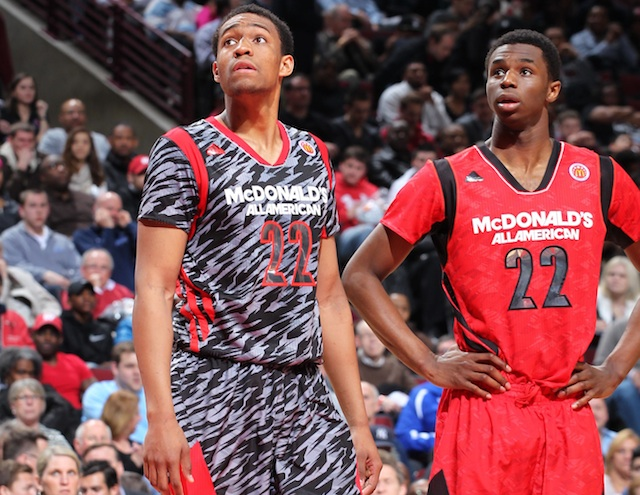 Jabari Parker (left) and Andrew Wiggins will continue their battle on the collegiate hardwood. (USATSI)