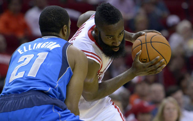 James Harden is day-to-day with a knee injury. (USATSI)