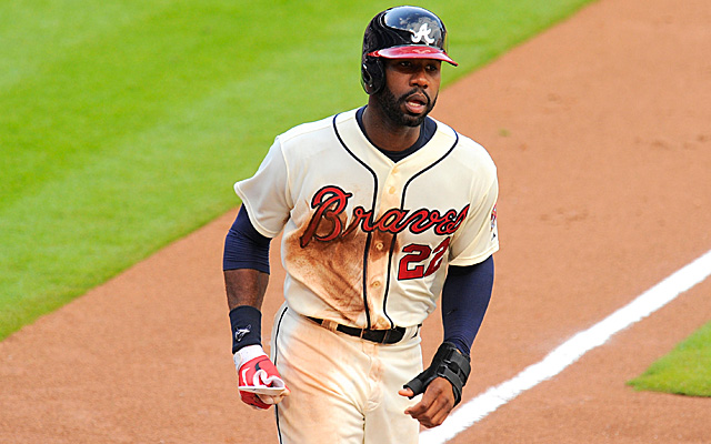 Jason Heyward had to leave Tuesday's game against Cincinnati.