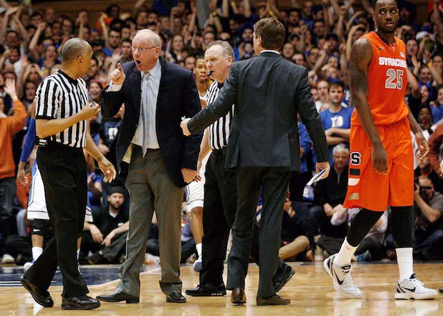 Jim Boeheim was given two technicals and ejected after disagreeing with a charge call. (USATSI)