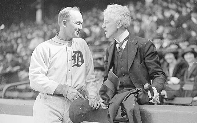Judge Landis, conversing with Hall of Famer Ty Cobb.