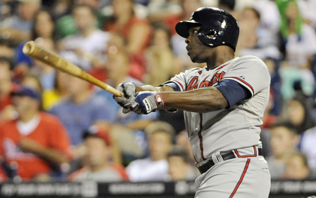 Justin Upton's been on a power surge, but a cramp took him down Sunday.