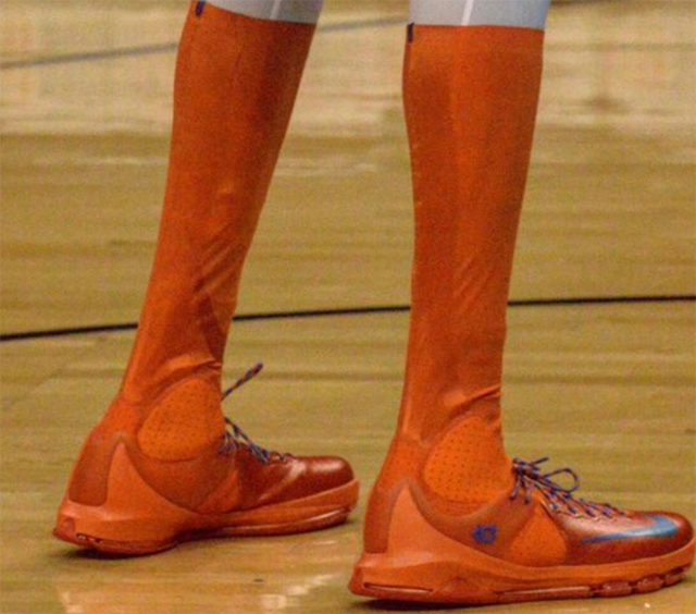 look kevin durants shoes go all the way to his knees