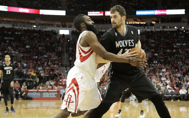 Kevin Love and James Harden are probably not teaming up next year.   (USATSI)