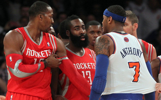 Could Melo join Dwight and Harden?  (USATSI)