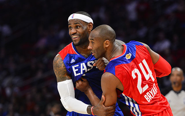 Kobe Bryant and LeBron James missed one another in the Finals.  (USATSI)