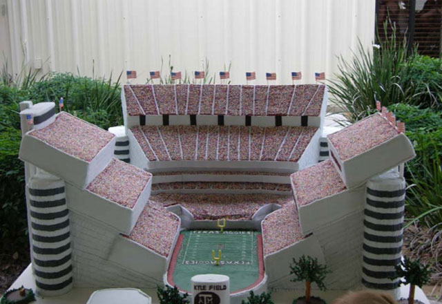 Maybe the best stadium wedding cake we've ever seen