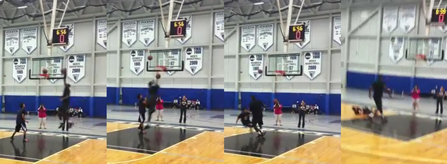 lebron james heat dunking. LeBron James dunks on kid at