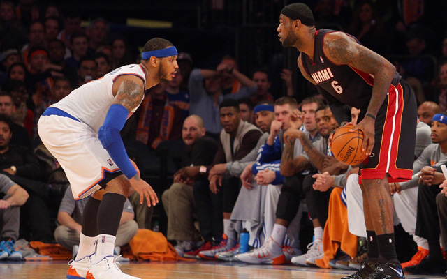 Carmelo Anthony and LeBron James both have something to play for Sunday.  (USATSI)