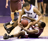 Damian Lillard and Will Cherry battle for a loose ball in the 2010 Big Sky tourney