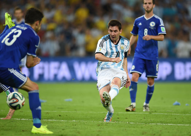 Lionel Messi finishes Argentina's second goal to go up 2-0 on Bosnia-Herzegovina. (Getty Images)