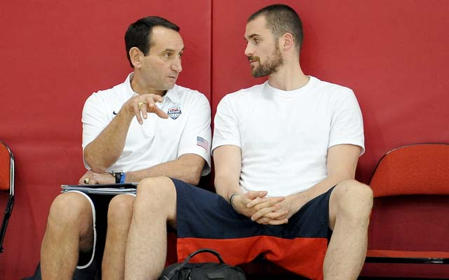 Coach K is a fan of Kevin Love.   (Getty)