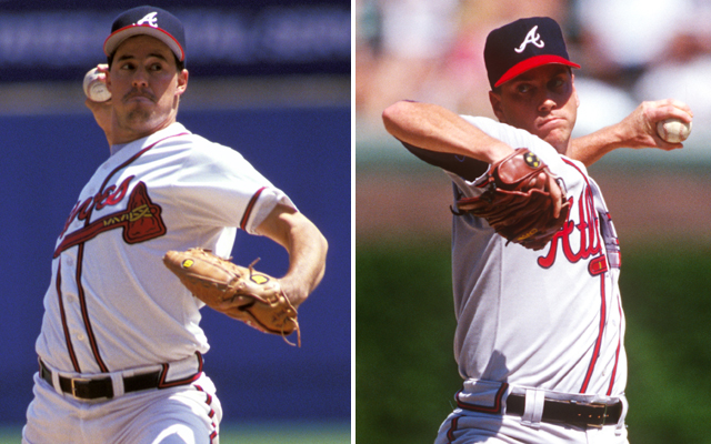Former teammates Greg Maddux (left) and Tom Glavine will go into Cooperstown together.